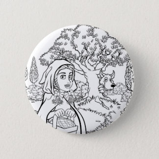 Fairytale Little Red Riding Hood Coloring Scene 2 Inch Round Button