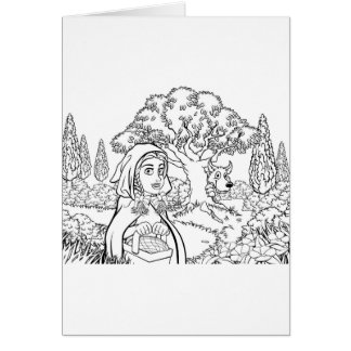 Fairytale Little Red Riding Hood Coloring Scene Card