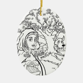Fairytale Little Red Riding Hood Coloring Scene Ceramic Ornament