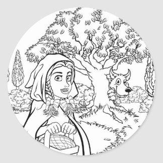 Fairytale Little Red Riding Hood Coloring Scene Classic Round Sticker