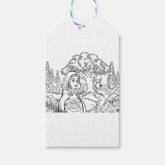 Fairytale Little Red Riding Hood Coloring Scene Gift Tags