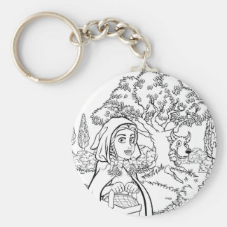 Fairytale Little Red Riding Hood Coloring Scene Keychain