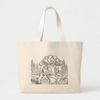 Fairytale Little Red Riding Hood Coloring Scene Large Tote Bag