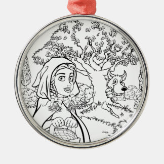 Fairytale Little Red Riding Hood Coloring Scene Metal Ornament