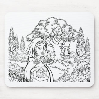 Fairytale Little Red Riding Hood Coloring Scene Mouse Pad
