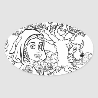 Fairytale Little Red Riding Hood Coloring Scene Oval Sticker