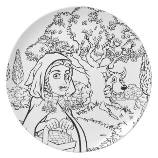 Fairytale Little Red Riding Hood Coloring Scene Plate