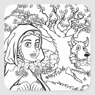 Fairytale Little Red Riding Hood Coloring Scene Square Sticker