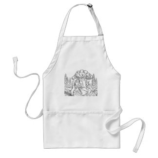 Fairytale Little Red Riding Hood Coloring Scene Standard Apron