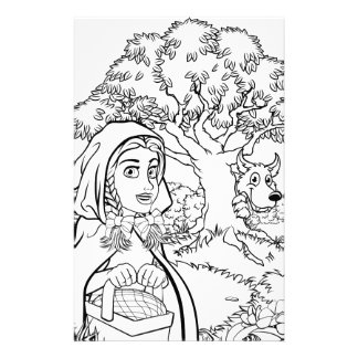 Fairytale Little Red Riding Hood Coloring Scene Stationery