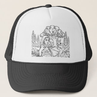 Fairytale Little Red Riding Hood Coloring Scene Trucker Hat