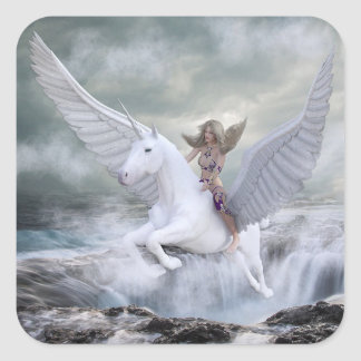 Fairytale Magical Mystical Unicorn and Woman Square Sticker