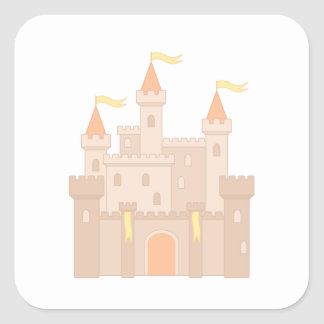 Fairytale Medieval Royal Princess Castle Square Sticker