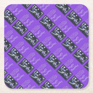 Fairytale of Rainbows Birthday Wishes Square Paper Coaster