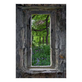 Fairytale Stone Window with View of Flowers Poster