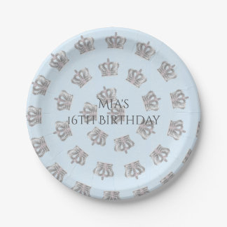 Fairytale Vintage Blue Royal Party Crown Plates 7 Inch Paper Plate