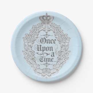 Fairytale Vintage Once Upon a time Blue Plates 7 Inch Paper Plate