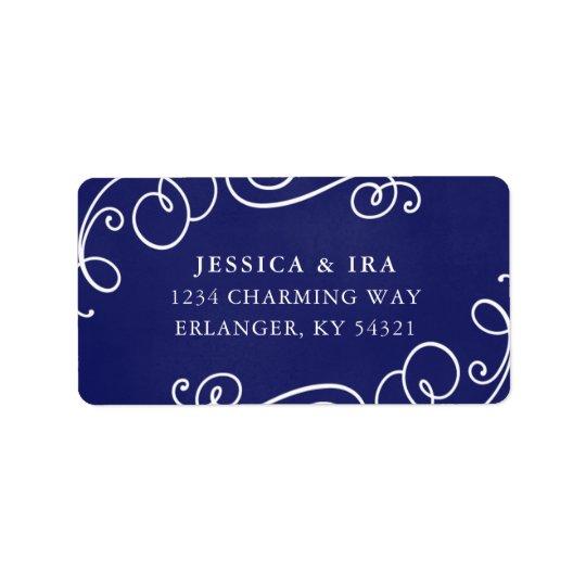 Fairytale Wedding Address Label in Royal Blue
