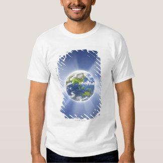 Faisceaux lumineux de la terre t shirts