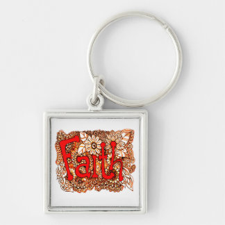 Faith 1 Silver-Colored square keychain