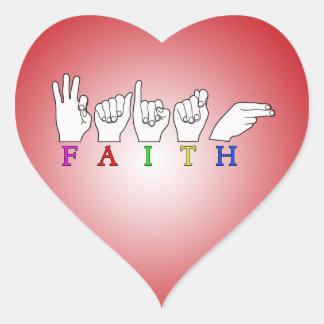 FAITH ASL NAME FINGERSPELLED SIGN HEART STICKER