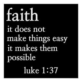 faith bible verse luke 1:37 poster