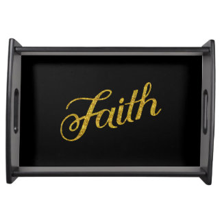 Faith Gold Faux Glitter Metallic Inspirational Serving Tray