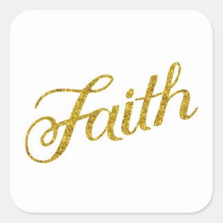 Faith Gold Faux Glitter Metallic Inspirational Square Sticker