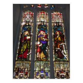 Faith, Hope and Charity Stained Glass Window Postcard