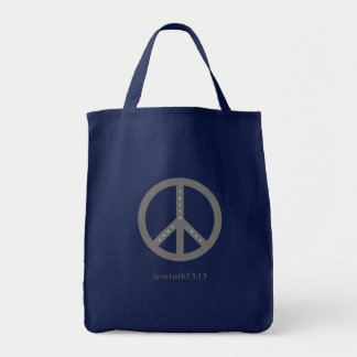 Faith, Hope, and Love Grocery Tote Bag (Navy)
