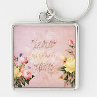 Faith Hope and Love Roses Keychain