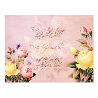Faith Hope and Love Roses Postcard