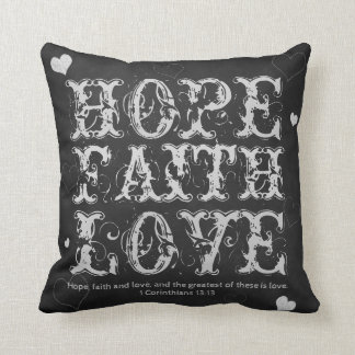 Faith, Hope and Love Vintage Chalkboard Throw Pillow