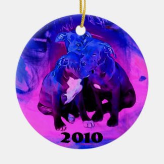 Faith Hope & Charity, Abused Pit Bull Dogs Ceramic Ornament