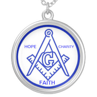 FAITH HOPE CHARITY BLUE SILVER PLATED NECKLACE