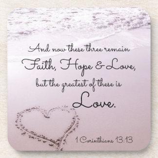 Faith Hope Love, 1 Corinthians 13:13, Ocean Beach Beverage Coasters