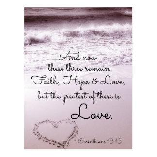 Faith Hope Love, 1 Corinthians 13:13, Ocean Beach Postcard