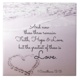 Faith Hope Love, 1 Corinthians 13:13, Ocean Beach Tile