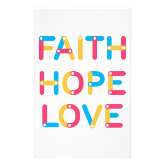 faith hope love 2 personalized stationery