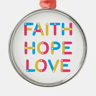 faith hope love 2 Silver-Colored round ornament