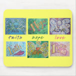 Faith Hope Love Angel Word Collage Mousepad