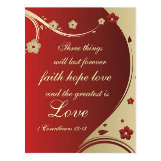 Faith Hope Love Bible Verse Customized Postcard