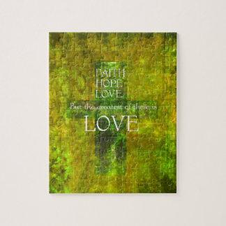 Faith Hope Love Bible Verse Jigsaw Puzzle