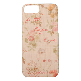 Faith, Hope, Love Bible Verse Quote Vintage Floral iPhone 7 Case