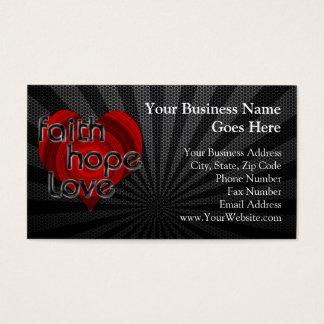 Faith Hope Love Black/Red Heart Business Card