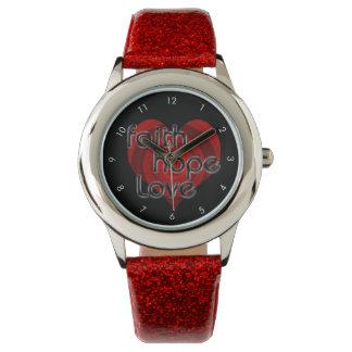 Faith Hope Love, Black/Red Heart Watch