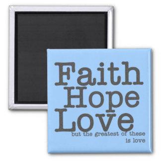 Faith Hope Love Blue Magnet