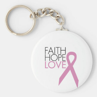 Faith, Hope, Love - Breast Cancer Support Basic Round Button Keychain
