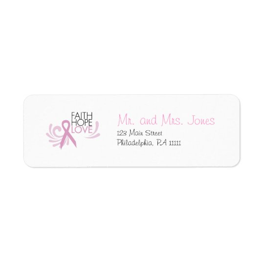 Faith, Hope, Love - Breast Cancer Support Return Address Label
