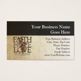 Faith Hope Love Christian Bible Verse Business Card